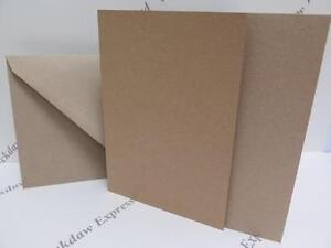 25 x Greeting Cards Blank Kraft 100% Recycled Single Fold Brown A5 280gsm+Env