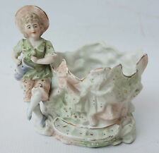 GERMANY ANTIQUE Hand Painted Porcelain Bisque Boy Holding Pitcher at Well