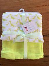 Swaddle Blanket Wrap X2 100% Cotton Dinosaur Lime New