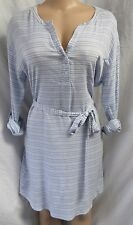 """ANN TAYLOR"" LIGHT BLUE & WHITE STRIPED CAREER CASUAL SHIFT DRESS SIZE: L NWT"