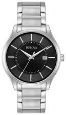 Bulova Men's Classic Quartz Black Dial Silver-Tone Bracelet 40mm Watch 96B267