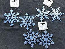 6 x Blue Snowflake Christmas Tree Bauble Decorations Glitter Sparkle 12cm