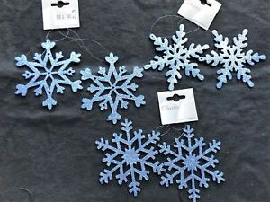 6 x Blue Snowflake Christmas Tree Bauble Decorations 12cm CLEARANCE CHEAP SALE