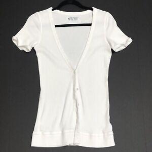 Victoria Secret White ribbed vneck T-shirt tee shop womens Medium