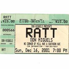 RATT Concert Ticket Stub TEMPE ARIZONA 12/16/01 DON MIGUELS BAJA GRILL Rare