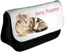 Personalised  CAT/KITTEN Pencil Case/Make Up Bag *Choice of text colour*
