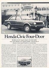 1981 Honda Civic 4-door Sedan  Original Car Review Print Article J630
