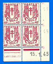 Lot France 40 Cent Franc 4 stamps in corner with date 1945 unused Free Ship Wrld