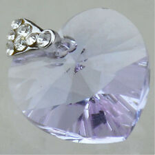 Silver Plate SWAROVSKI ELEMENTS 6228 Heart Pendant Light Amethyst