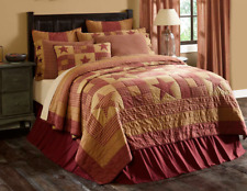 Ninepatch Star California King Quilt Primitive Red Burgundy/Tan Farmhouse Vhc