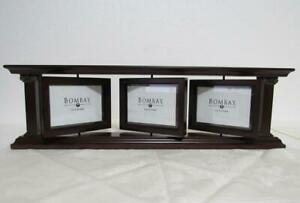 Bombay Triple Swinging 2 Sided Multi Picture Photo Wooden Frame Mantel Desk Top