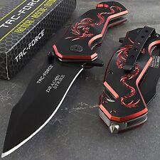 """7.75"""" Tac-Force Red Dragon Strike Spring Assisted Folding Pocket Knife Fantasy"""