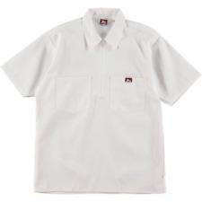 Ben Davis Short Sleeve Half Zip Work Shirt Solid White