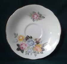 DUCHESS CHINA MOSSLEIGH TEA SAUCER BONE CHINA SAUCER PINK BLUE & YELLOW ROSES