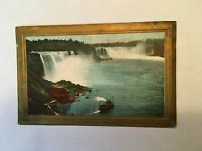 Vintage  card with waterfall and boat framed