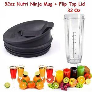 2 In 1 Nutri Ninja 32oz Replacement Cup Mug 1000w Cup + Flip Top Lid UK Stock