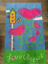 Love Grows ~ Garden of Hearts Butterflies Bird House 2 Sided Garden Flag Pretty!