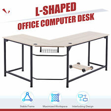 L Shaped Home Office Desk With Tower Shelf Cable Management 47x19 66x19 Oak Home
