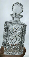 Vintage Crystal Glass Square Whisky Decanter Faceted Globe Stopper