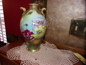 Nippon Antique Hand Painted Gilded Gold Beaded Moriage Vase Maple Leaf READ