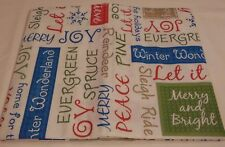 """Christmas Tablecloth Vinyl 52 x 70"""" Rectangle Word Pattern Flannel Back NEW Text"""