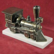 Enameled Brass / Bronze Steam Locomotive Statue on Marble Base / Bookend