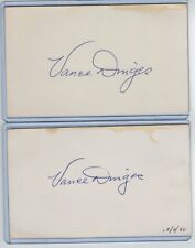 (2) VANCE DINGES INDEX CARD SIGNED 1945-46 PHILADELPHIA PHILLIES PSA/DNA d.1990