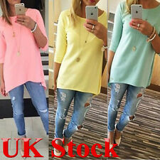 New Autumn Women Ladies Fashion Casual Basic Celeb 3/4 Sleeve Blouse Shirt Tops