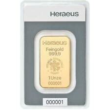 Heraeus - 31,1 Gramm Goldbarren - 999,9 Gold - in Blisterkarte - Neuware