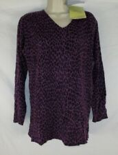 Susan Graver Womens V-Neck Shirt Sz S Purple Animal Print Pull On CB93G NWT