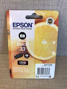 GENUINE EPSON 33 Photo Black cartridge ORIGINAL vacuum sealed ink ORANGES