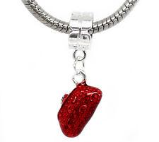 Red Enamel Purse Evening Bag Dangle Bead for Silver European Charm Bracelets
