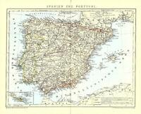 Antiguo Mapa de País :España,Andorra Y Portugal -ein Original De 1905-