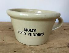 RARE VINTAGE 'PEARSONS' STONEWARE 'MOM'S GOOD PUDDING' BOWL WITH HANDLE