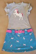 New Pink & Violet Girls Short Sleeve drop waist Gray Turquoise Unicorn Dress 7/8