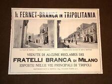 Pubblicità d'Epoca per Collezionisti del 1906 Il Fernet Branca in Tripolitania