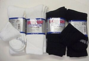 4pr Ladies Ultra Soft loose fit top Diabetic Crew Socks Black or White 9-11