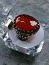 Mens Red Real Aqeeq agate akik ring 925 Unheated Untreated Stone