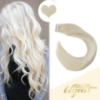 Ugeat Platinum Blonde 60# PU Weft Tape in Remy Human Hair Extensions 20pcs/50g