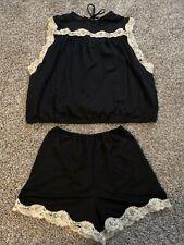 Vintage Gilead 2 Piece Set Sleepwear Lingerie Black White Lace Trim Medium Short