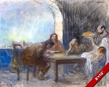 JESUS CHRIST SUPPER AT EMMAUS ISRAEL PAINTING bible ART REAL CANVAS GICLEEPRINT