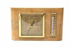 Alte Fischer Wetterstation Messing Holz Barometer + Thermometer DDR 20x12cm