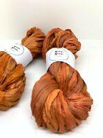 Sari silk ribbon, cinder orange, recycled ribbon. 50g. Weaving, macrame, crafts