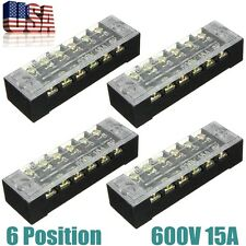 4Pcs 6 Position 600V Double Row Wire Barrier Block Screw Terminal Panel Strip