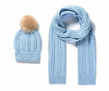 Baby Blue Knitted Scarf  & Pompom  Hat Set Cable Pattern