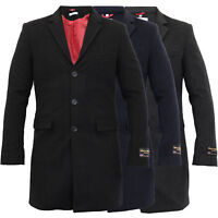 new mens wool cashmere coat jacket slim fit outerwear trench lined warm winter