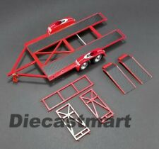 GMP 1:18 So-Cal Speed Shop Tandem Car Trailer w/ Tire Rack Model Car Red 18907