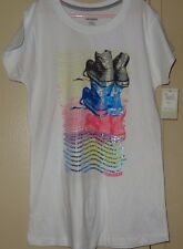 Converse Girls T Shirt Size XL White Sparkle Blue Pink Short Sleeve NWT New