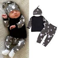UK Newborn Baby Boy Girl Clothes Jumpsuit Romper Bodysuit Long Pants +Hat Outfit
