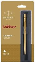 Parker Classic Gold GT Ball Point Pen Gold Trim Fine Quink Blue Refill New Nib